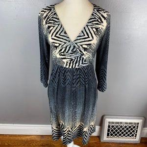 Chico's slinky faux wrap dress blue leopard S